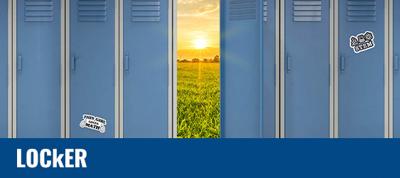 A photo of school lockers with one locker open, showing the sunset over a grassy field.
